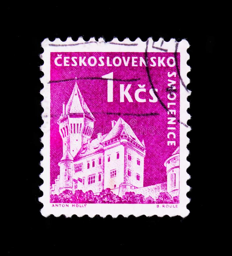 MOSCOW, RUSSIA - JUNE 20, 2017: A stamp printed in Czechoslovakia shows Smolenice Castle, circa 1960 stock photography