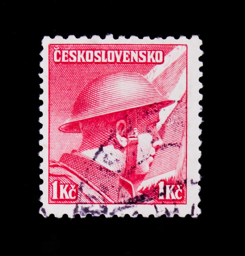 MOSCOW, RUSSIA - JUNE 20, 2017: A stamp printed in Czechoslovakia shows Staff Captain Ridky (British Army), circa 1945. MOSCOW, RUSSIA - JUNE 20, 2017: A stamp royalty free stock photos