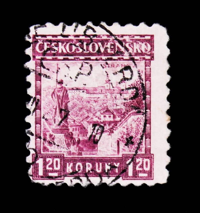 MOSCOW, RUSSIA - JUNE 20, 2017: A stamp printed in Czechoslovakia shows View of Strahov Monastery, circa 1926 stock photography