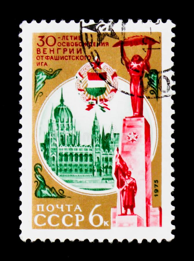 Clearing of Hungary of fascist aggressors, circa 1975. MOSCOW, RUSSIA - JUNE 26, 2017: A stamp printed in USSR Russia devoted to clearing of Hungary of fascist stock images