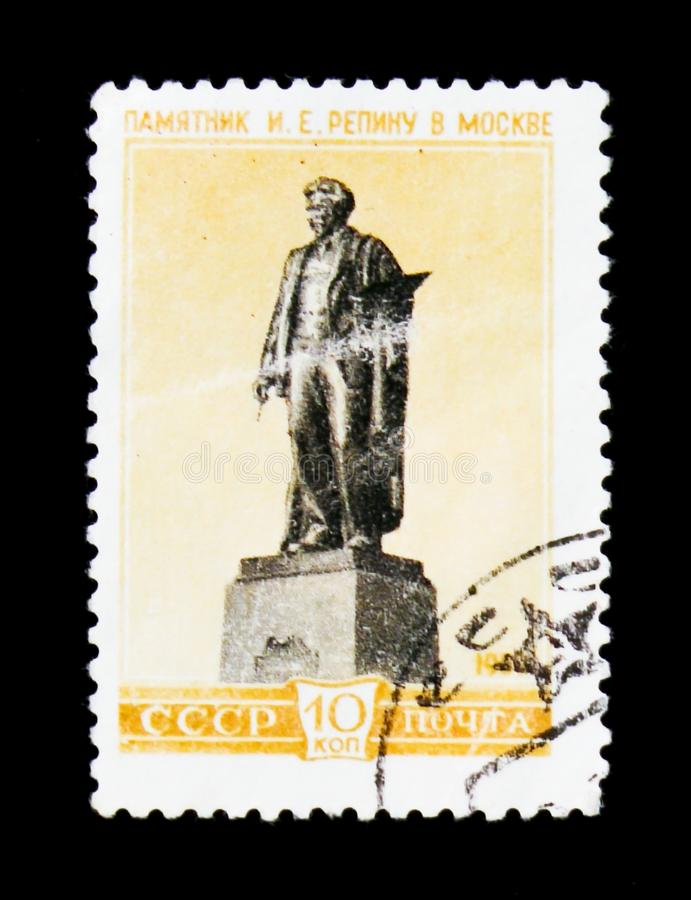 I. Repin monument in Moscow, circa 1959. MOSCOW, RUSSIA - JUNE 26, 2017: A stamp printed in USSR Russia shows a I. Repin monument in Moscow, circa 1959 stock image