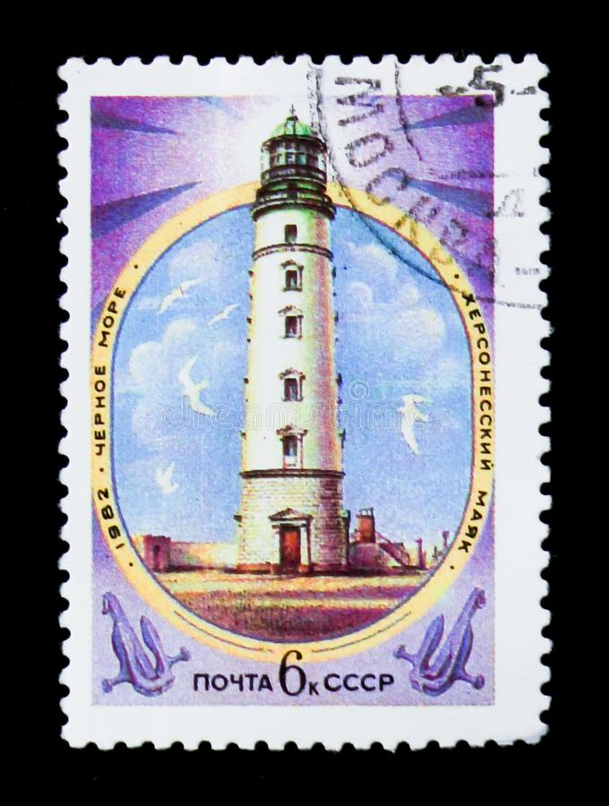 Kherson lighthouse, Black sea, circa 1982. MOSCOW, RUSSIA - JUNE 26, 2017: A stamp printed in USSR Russia shows Kherson lighthouse, Black sea, circa 1982 stock photo