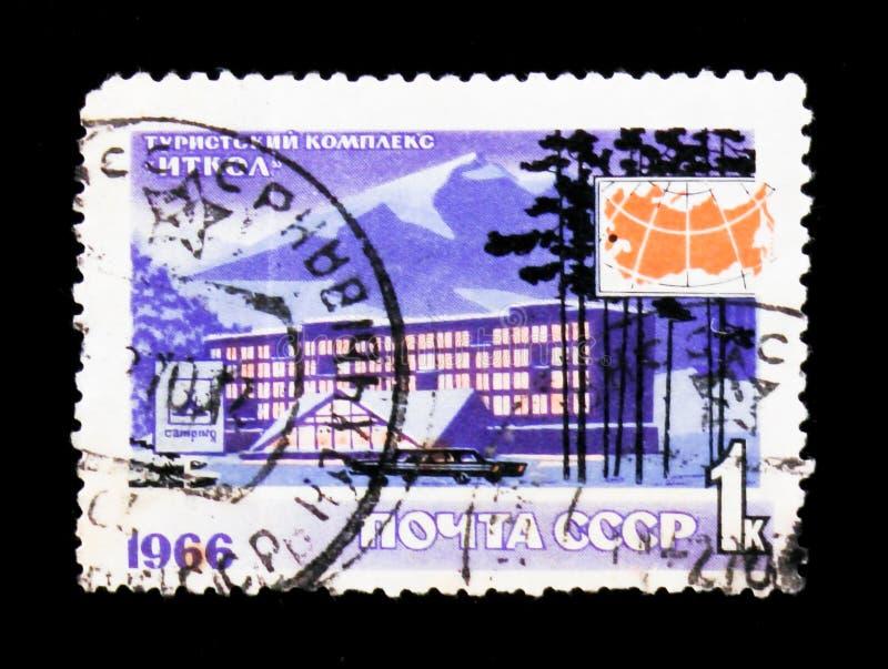 Ski tourism complex Itkol, Caucasus, circa 1966. MOSCOW, RUSSIA - JUNE 26, 2017: A stamp printed in USSR Russia shows ski tourism complex Itkol, Caucasus, circa stock photo