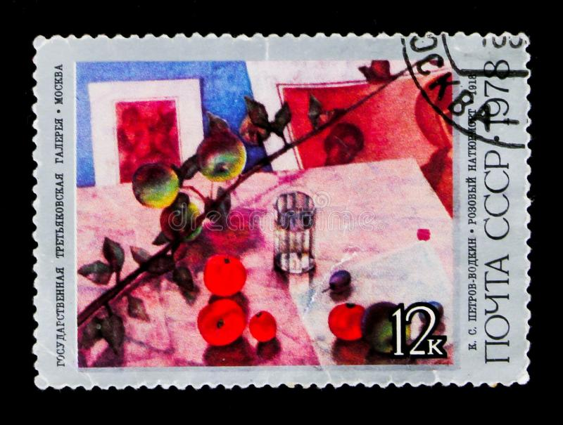 The `Still-life with Fruit` 1918, K. Petrov-Vodkin, circa 1978. MOSCOW, RUSSIA - JUNE 26, 2017: A stamp printed in USSR Russia shows the `Still-life with Fruit` stock photography