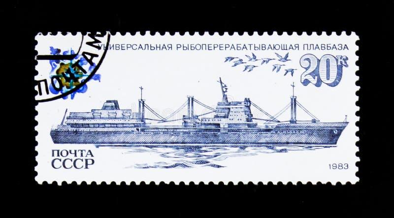 Universal fish-processing factory ship, circa 1983 royalty free stock photos
