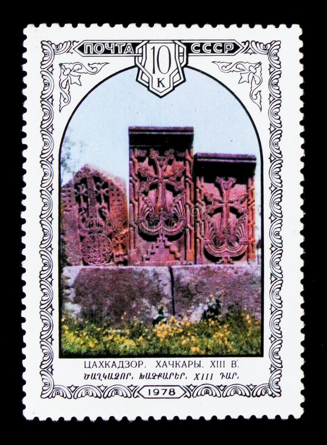 Khachkars carved stones, Armenia, the series `Armenian Architecture`, circa 1978. MOSCOW, RUSSIA - JUNE 26, 2017: A stamp printed in USSR Russia shows khachkars royalty free stock images