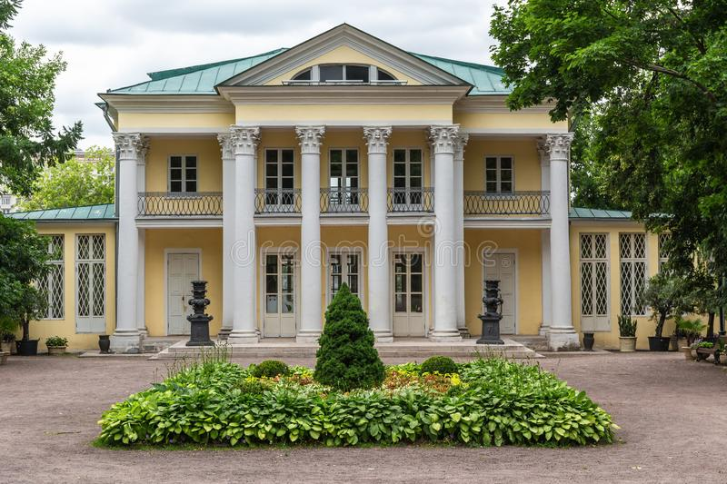 MOSCOW, RUSSIA - June 24, 2018: Summer house of count Orlov in Neskuchny garden in Moscow. Sample of Russian architecture of the royalty free stock photography