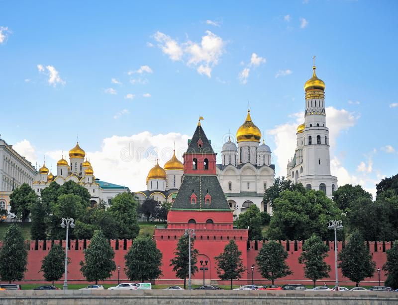 Summer view of Kremlin towers, Moscow. MOSCOW, RUSSIA - JUNE 20: Summer view of Kremlin towers, Moscow on June 20, 2018 stock image