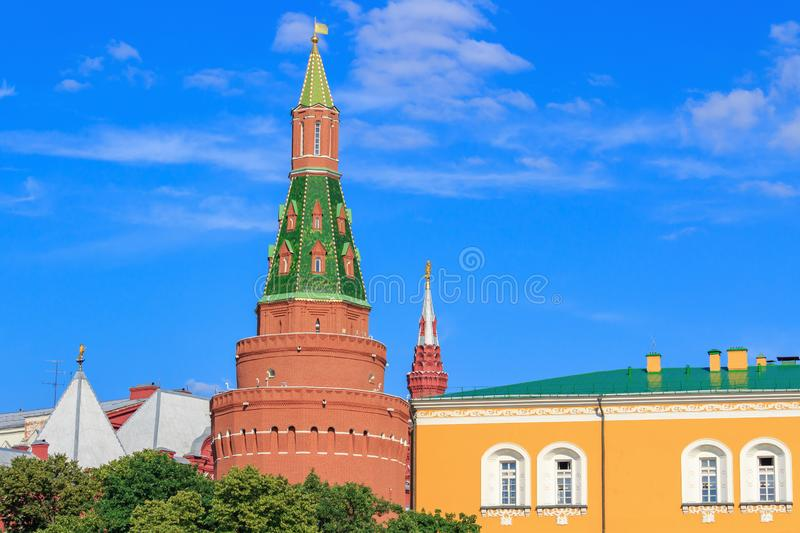 Moscow, Russia - June 28, 2018: Towers and buildings of Moscow Kremlin against blue sky in sunny day stock photos