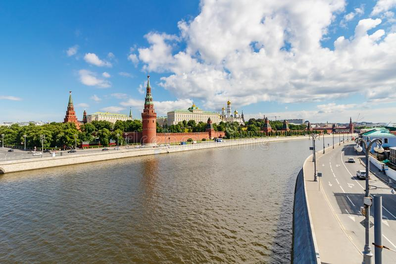 Moscow, Russia - June 02, 2019: View of Moscow Kremlin and embankments of Moskva river in sunny summer morning against blue sky royalty free stock photos