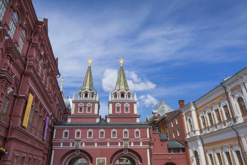 MOSCOW, RUSSIA - JUNE 03: View on Voskresenskie gate in Kremlin royalty free stock image