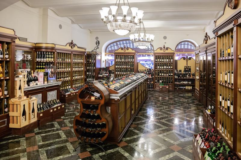 Wine Shop in the deli number 1, State Universal Store (GUM) in M. MOSCOW, RUSSIA - June 17, 2018: Wine Shop in the deli number 1, State Universal Store (GUM stock photography