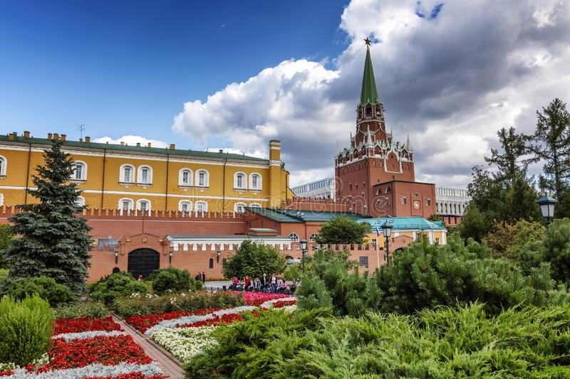 Moscow, Russia, 08/06/2019: Kremlin towers in the Alexander Garden. Sunny bright day. Beautiful city landscape. Horizontal stock images
