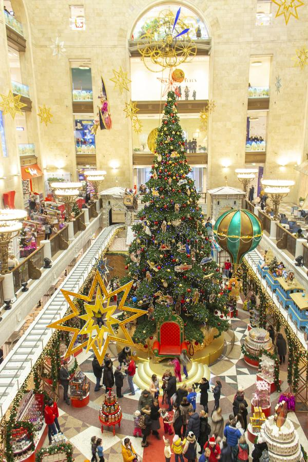 04-01-2017, Moscow, Russia. The largest children`s store in Moscow Children`s World. Christmas tree in the toy store, a lot of royalty free stock image
