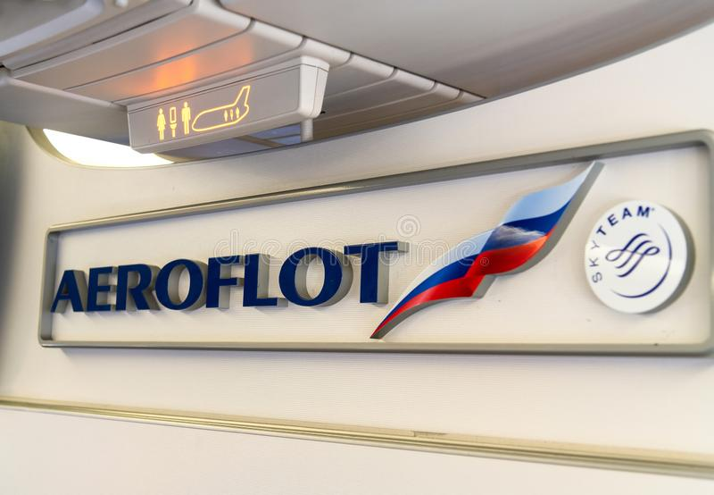 Moscow, Russia - March 27. 2019. Aeroflot airline badge and loyalty programs Skyteam in aircraft. Moscow, Russia - March 27. 2019. Aeroflot airline badge and stock image