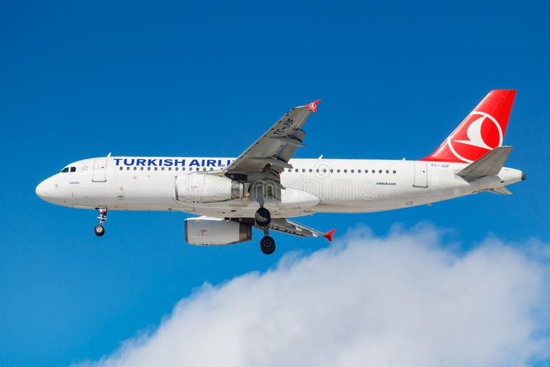 Moscow, Russia - March 26, 2019: Aircraft Airbus A320-232 TC-JUF of Turkish Airlines against blue sky in sunny morning going to. Landing at Vnukovo stock photos