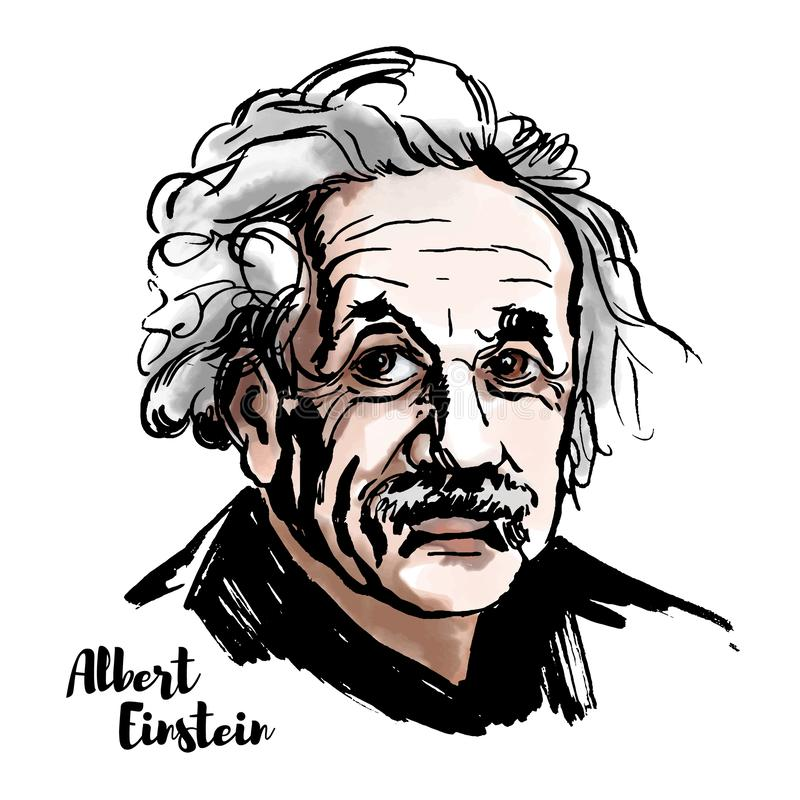 Albert Einstein Portrait. MOSCOW, RUSSIA - MARCH 20, 2018: Albert Einstein watercolor vector portrait with ink contours. The theoretical physicist who developed