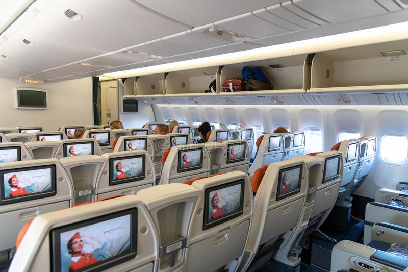 Moscow, Russia - March 27. 2019. Business class on an Aeroflot plane. Back view. Moscow, Russia - March 27. 2019. Business class on Aeroflot plane Back view royalty free stock photo