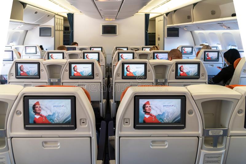Moscow, Russia - March 27. 2019. Business class on an Aeroflot plane. Back view. Moscow, Russia - March 27. 2019. Business class on Aeroflot plane Back view royalty free stock photos