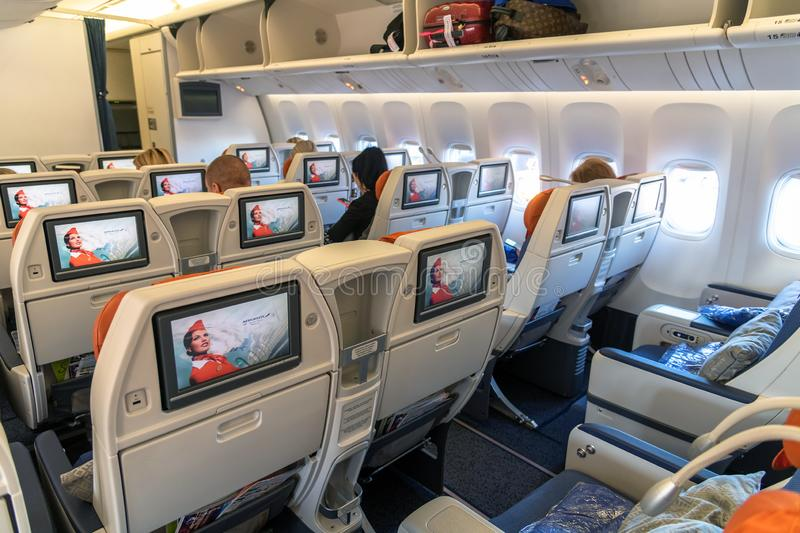 Moscow, Russia - March 27. 2019. Business class on an Aeroflot plane. Back view. Moscow, Russia - March 27. 2019. Business class on Aeroflot plane Back view royalty free stock images