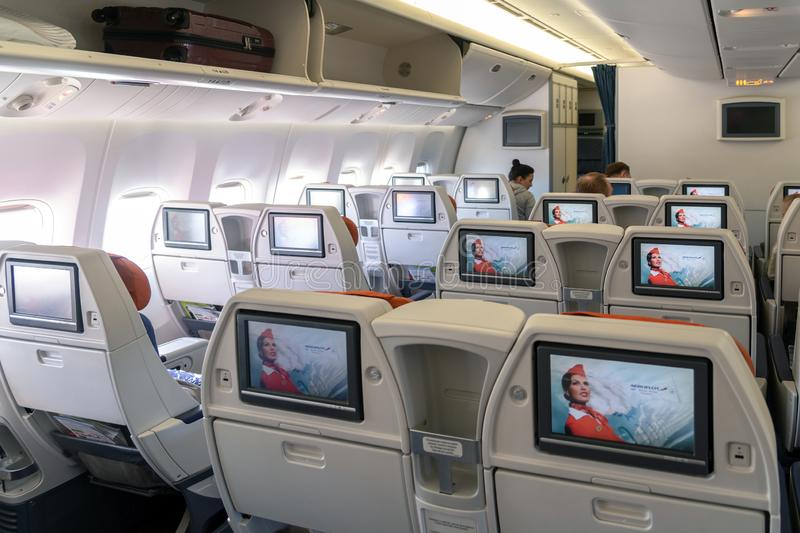 Moscow, Russia - March 27. 2019. Business class on an Aeroflot plane. Back view. Moscow, Russia - March 27. 2019. Business class on Aeroflot plane Back view stock photo