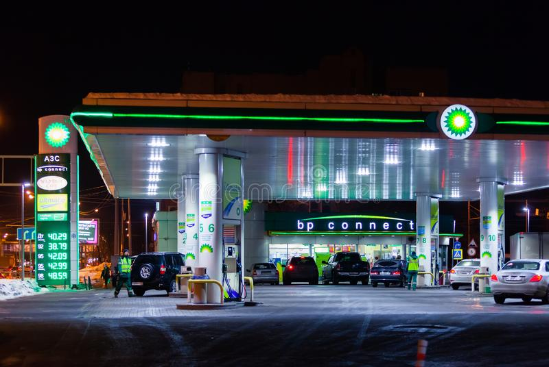 MOSCOW, RUSSIA - MARCH 20, 2018: The car drove up to the BP Connect petrol station on the highway in the busy Moscow. MOSCOW, RUSSIA - MARCH 20, 2018: Cars at royalty free stock images