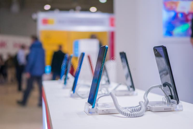 New models of Huawei smartphone at electronic trade show, exhibition royalty free stock images