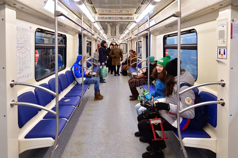 Moscow, Russia - March 17. 2018. People ride in subway car stock photo