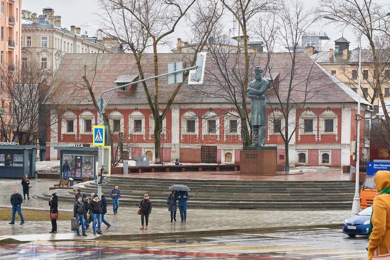 On the square in Moscow. Moscow, Russia - March 22, 2019: Ploshchad Prechistenskiye Vorota square, monument to Friedrich Engels and Red Chambers historical royalty free stock photo