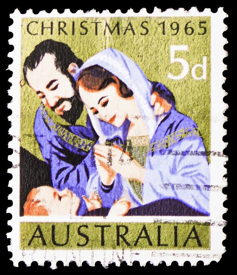 The Holy Family, Christmas 1965 serie, circa 1965 stock image