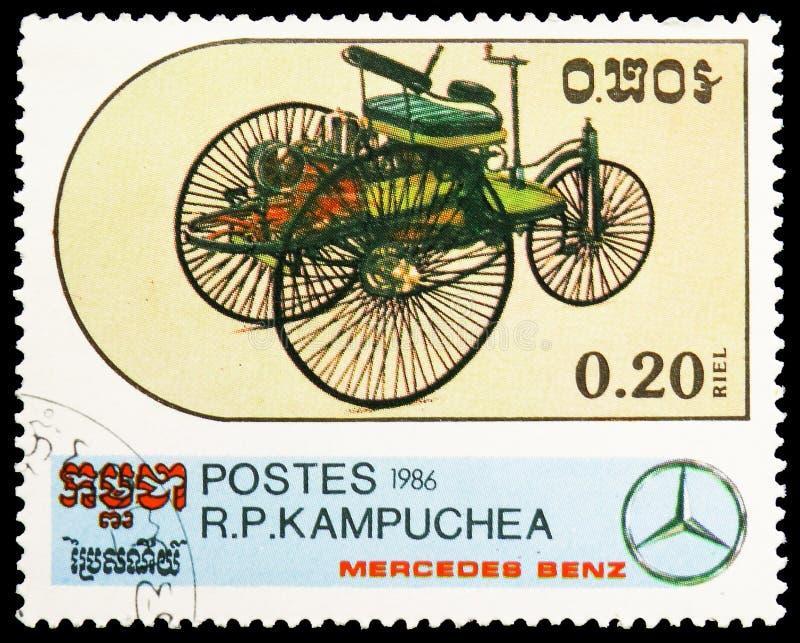 Three-Wheeled Mobile - 1885, Centenary of the Motor Car - Mercedes Benz Models serie, circa 1986 stock photography