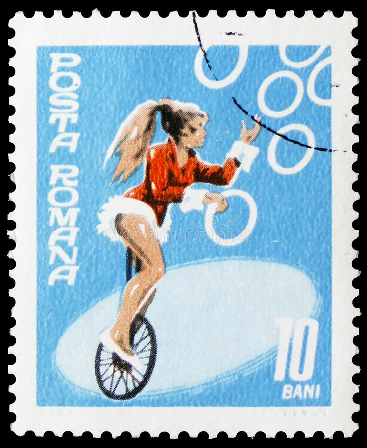 Juggler on unicycle, Romanian State Circus serie, circa 1969 stock photos