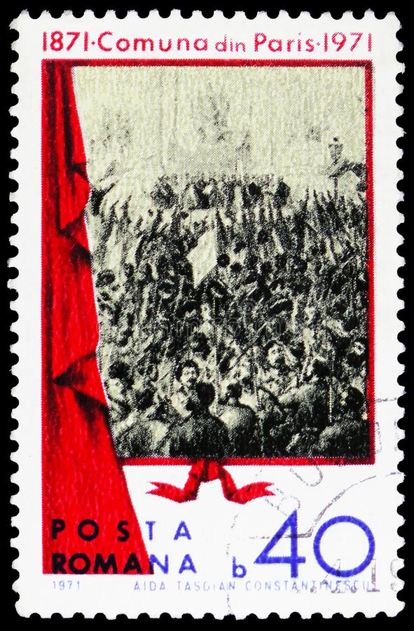 Proclamation of the Paris Commune Centenary, circa 1971. MOSCOW, RUSSIA - MARCH 23, 2019: Postage stamp printed in Romania shows Proclamation of the Paris stock images