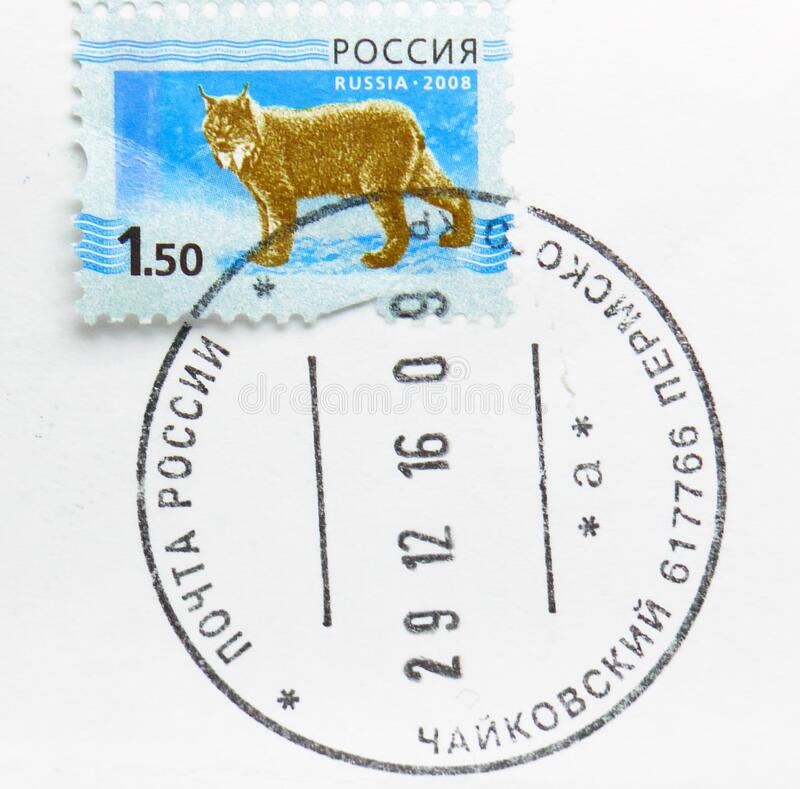 Postage stamp printed in Russia with stamp of Chaykovsky, Perm Krai shows Eurasian Lynx Lynx lynx, 5th Definitive Issue of. MOSCOW, RUSSIA - MARCH 11, 2020 royalty free stock photography