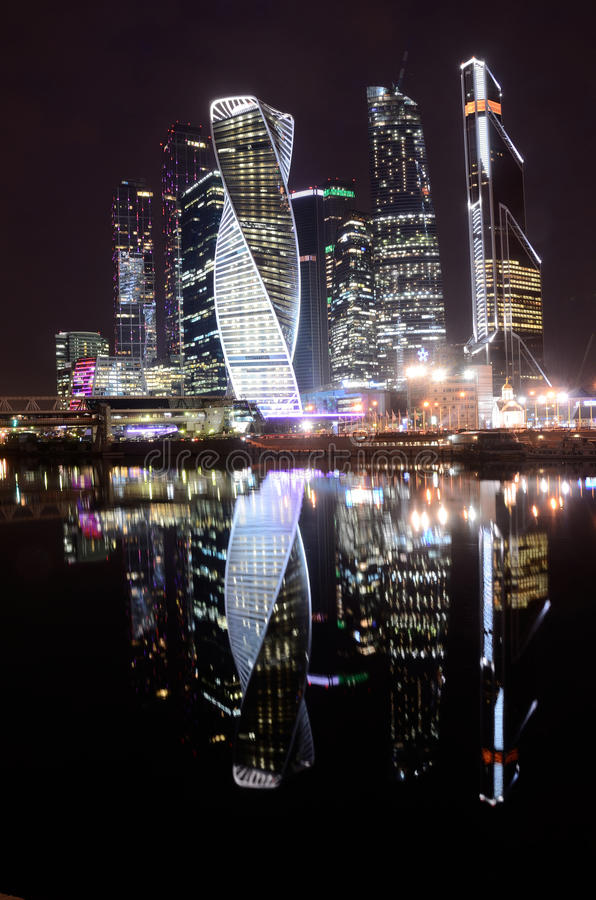 Moscow, Russia, March, 28, 2016. Russian scene: International Business Centre `Moscow-City` at night. Moscow, Russia, International Business Centre `Moscow-City royalty free stock photography