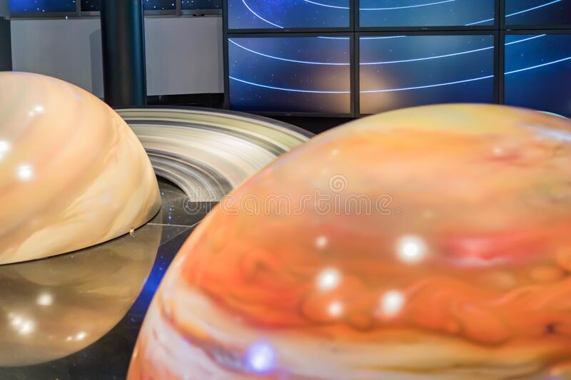 MOSCOW,RUSSIA - March 21, 2018: Solar system model in the Moscow Planetarium, fragement.  stock photos