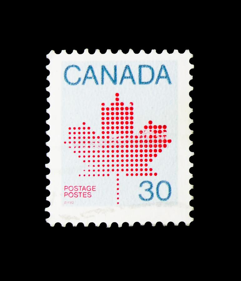 Maple Leaf, Definitives 1981-84 (Maple Leaf Emblem) serie, circa. MOSCOW, RUSSIA - MARCH 18, 2018: A stamp printed in Canada shows Maple Leaf, Definitives 1981 royalty free stock image