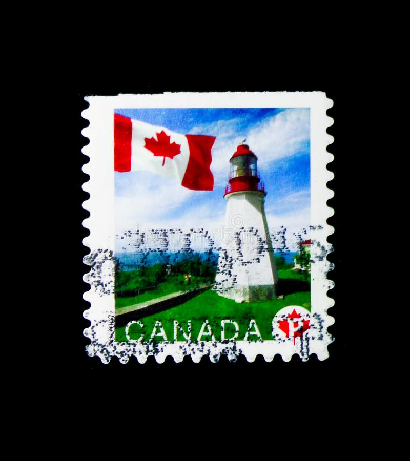 Pachena Point, Flag definitives serie, circa 2007. MOSCOW, RUSSIA - MARCH 18, 2018: A stamp printed in Canada shows Pachena Point, Flag definitives serie, circa royalty free stock photos