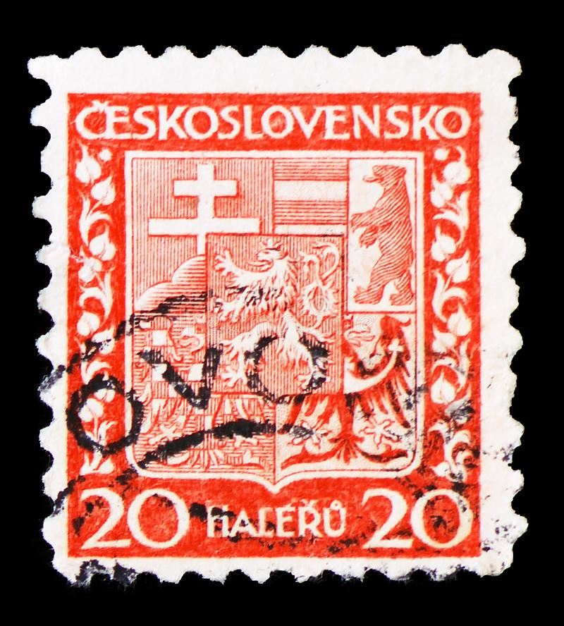 Coat of Arms, circa 1929. MOSCOW, RUSSIA - MARCH 23, 2019: A stamp printed in Czechoslovakia shows Coat of Arms, circa 1929 royalty free stock photos