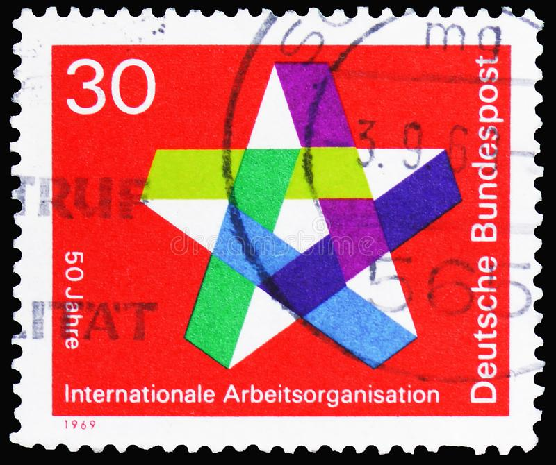 I.L.O. International Labour Organization 50th Anniversary, serie, circa 1969. MOSCOW, RUSSIA - MARCH 30, 2019: A stamp printed in Germany, Federal Republic stock image