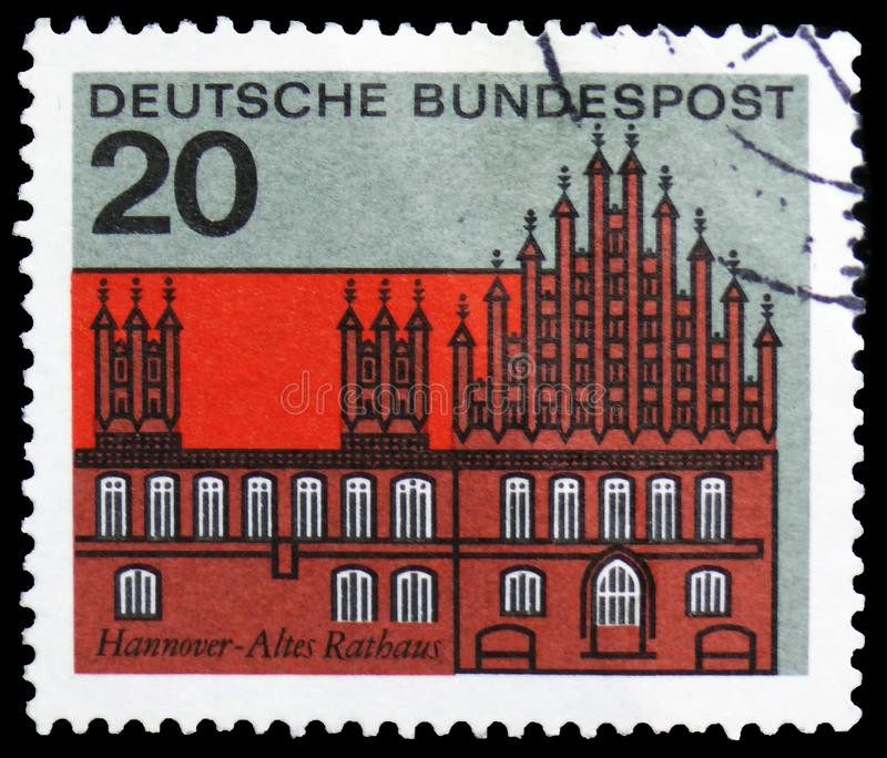 Capitals of the Federal Lands - Hannover, Capitals of the States of the Federal Republic of Germany serie, circa 1964. MOSCOW, RUSSIA - MARCH 30, 2019: A stamp royalty free stock photos