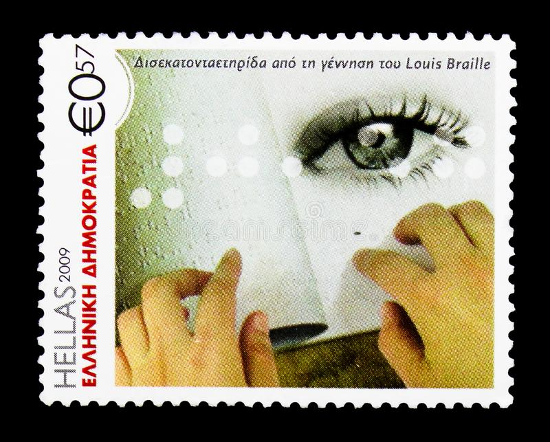 200 Years from the Birth of Louis Braille, Anniversaries and Eve. MOSCOW, RUSSIA - MARCH 18, 2018: A stamp printed in Greece shows 200 Years from the Birth of stock photo