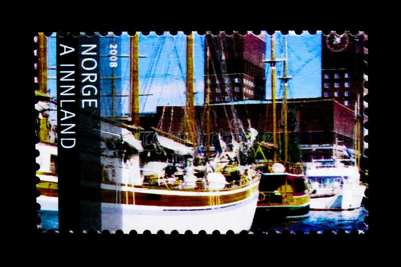 Oslo Harbour, Tourism serie, circa 2008. MOSCOW, RUSSIA - MARCH 18, 2018: A stamp printed in Norway shows Oslo Harbour, Tourism serie, circa 2008 stock images