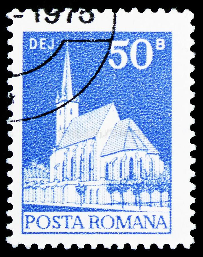 Dej church, Definitives - Monuments serie, circa 1973. MOSCOW, RUSSIA - MARCH 30, 2019: A stamp printed in Romania shows Dej church, Definitives - Monuments stock photos