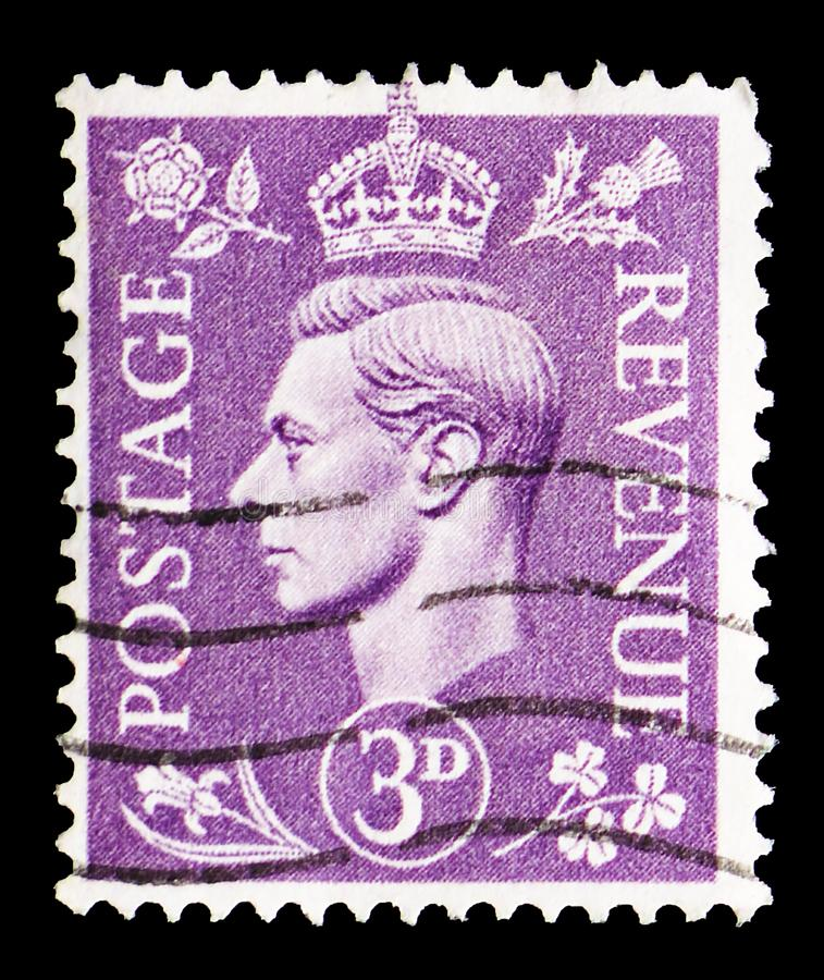 King George VI, Definitives serie, circa 1938. MOSCOW, RUSSIA - MARCH 23, 2019: A stamp printed in United Kingdom shows King George VI, Definitives serie, circa stock photography
