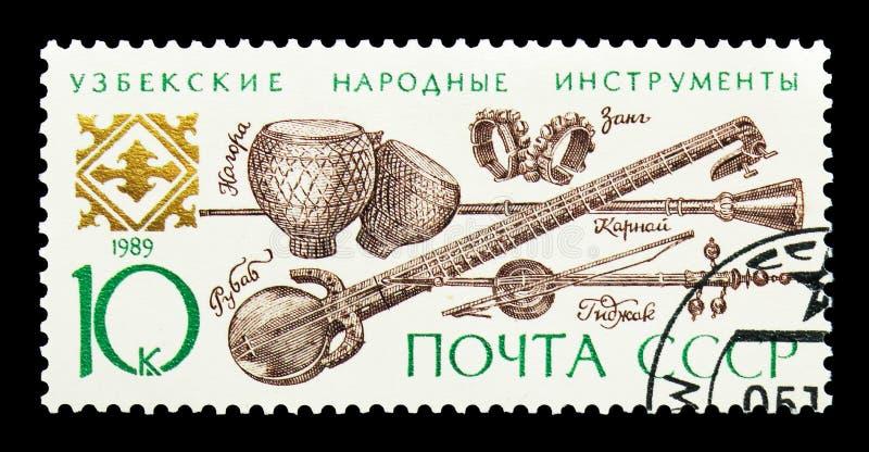 Uzbek folk instruments, Musical Instruments serie, circa 1989 royalty free stock photos