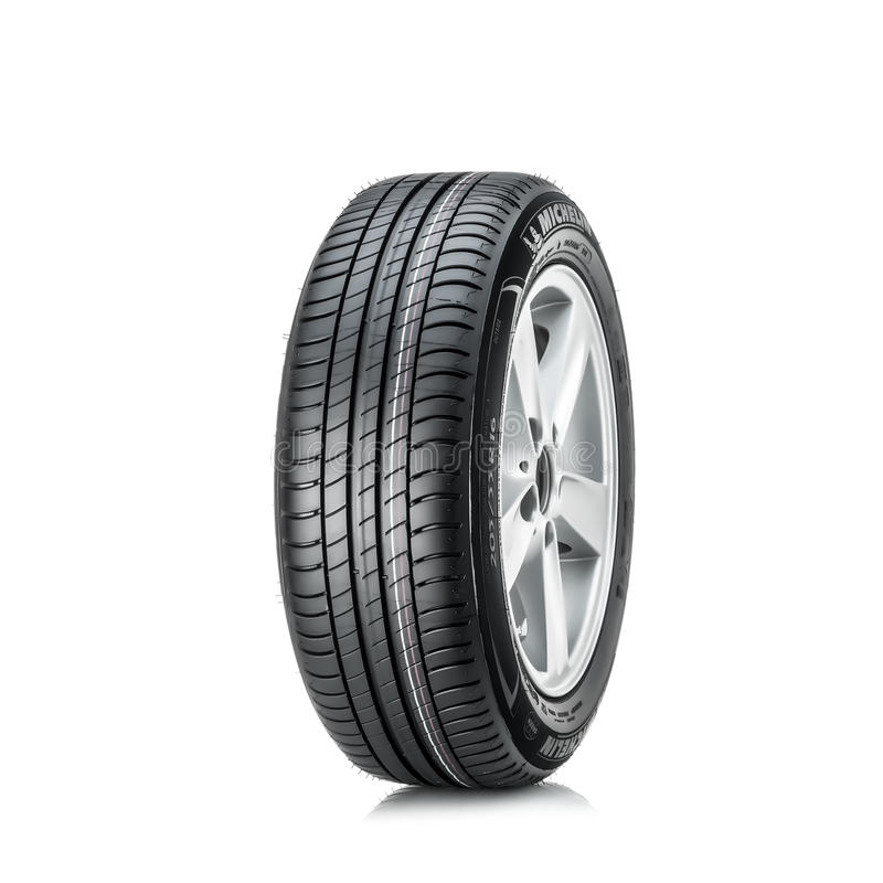 MOSCOW, RUSSIA - MARCH 4, 2016: Winter car tyre Primacy 3 205/55 R16 ZP (RunFlat) brand of the company Michelin, isolated on royalty free stock photos