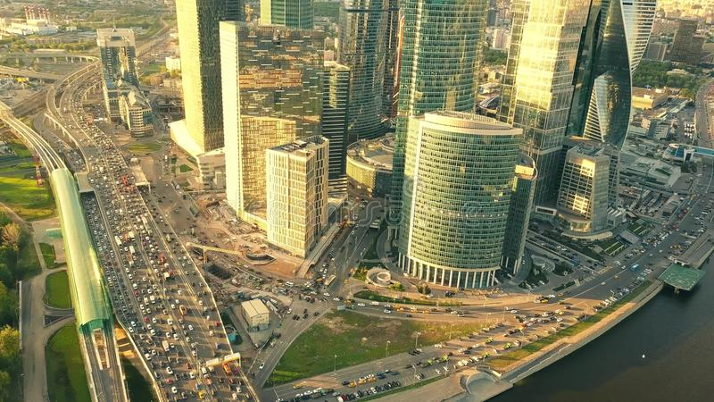 MOSCOW, RUSSIA - MAY, 22, 2017. Aerial shot of city highway traffic jam in the business district in the rush hour. MOSCOW, RUSSIA - MAY, 22, 2017. Aerial shot of stock photo