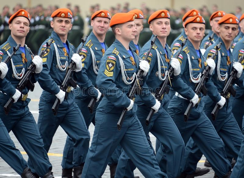 Cadets of the Academy of civil protection of EMERCOM of Russia during the parade on red square in honor of victory Day. MOSCOW, RUSSIA - MAY 9, 2019: Cadets of royalty free stock images
