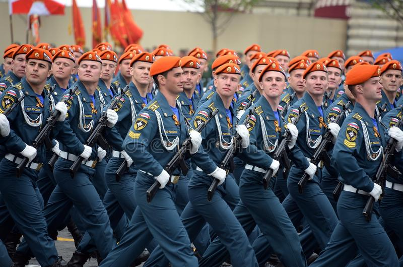 Cadets of the Academy of civil protection of EMERCOM of Russia during the parade on red square in honor of victory Day. MOSCOW, RUSSIA - MAY 9, 2019: Cadets of royalty free stock image